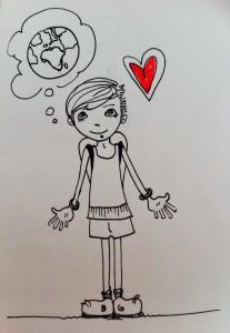 Io in un disegno di Alice Poli (e lei nemmeno lo sapeva).